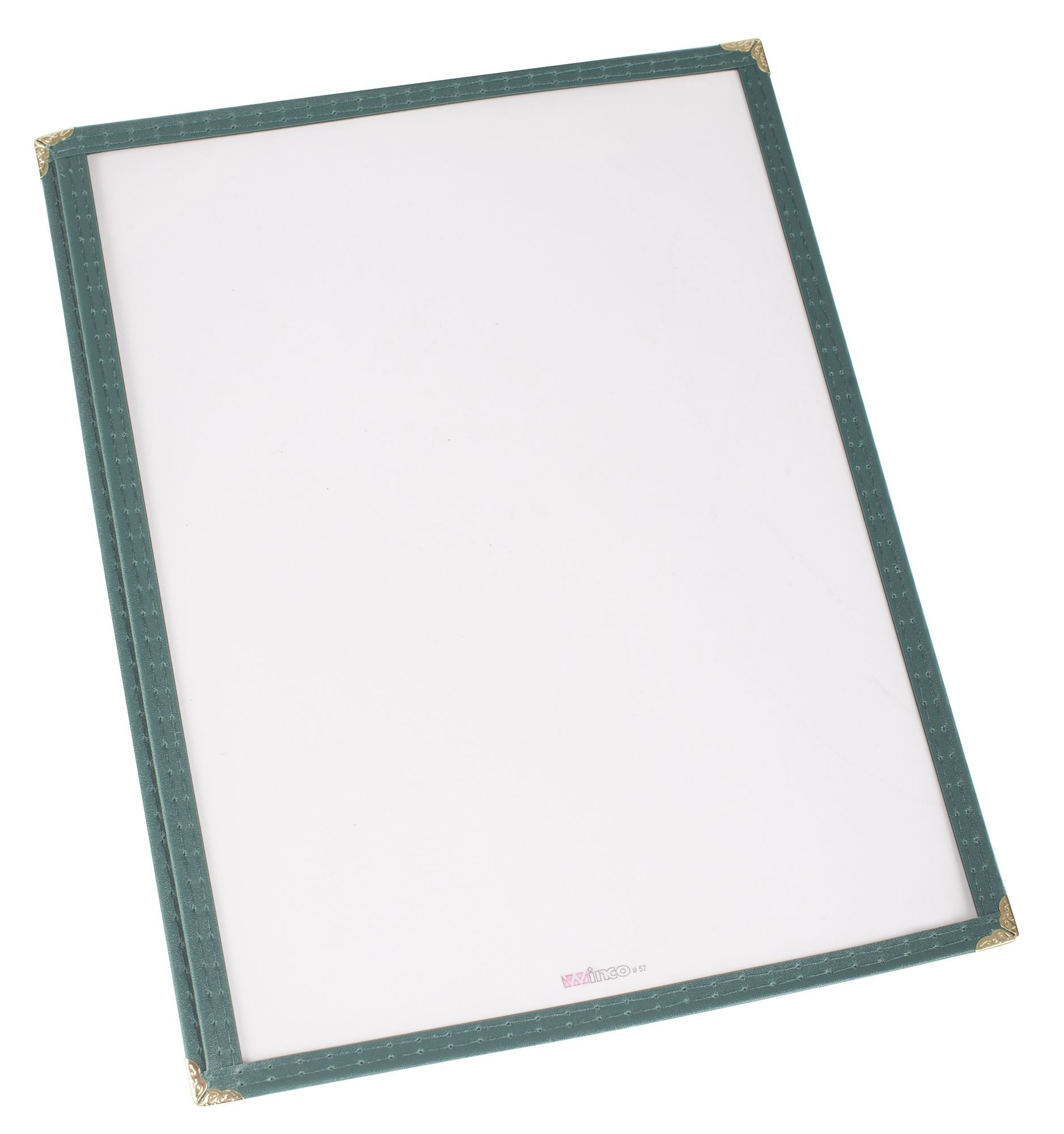 "Winco PMC-9G Green Single Fold Menu Cover 9-1/2"" x 12"""