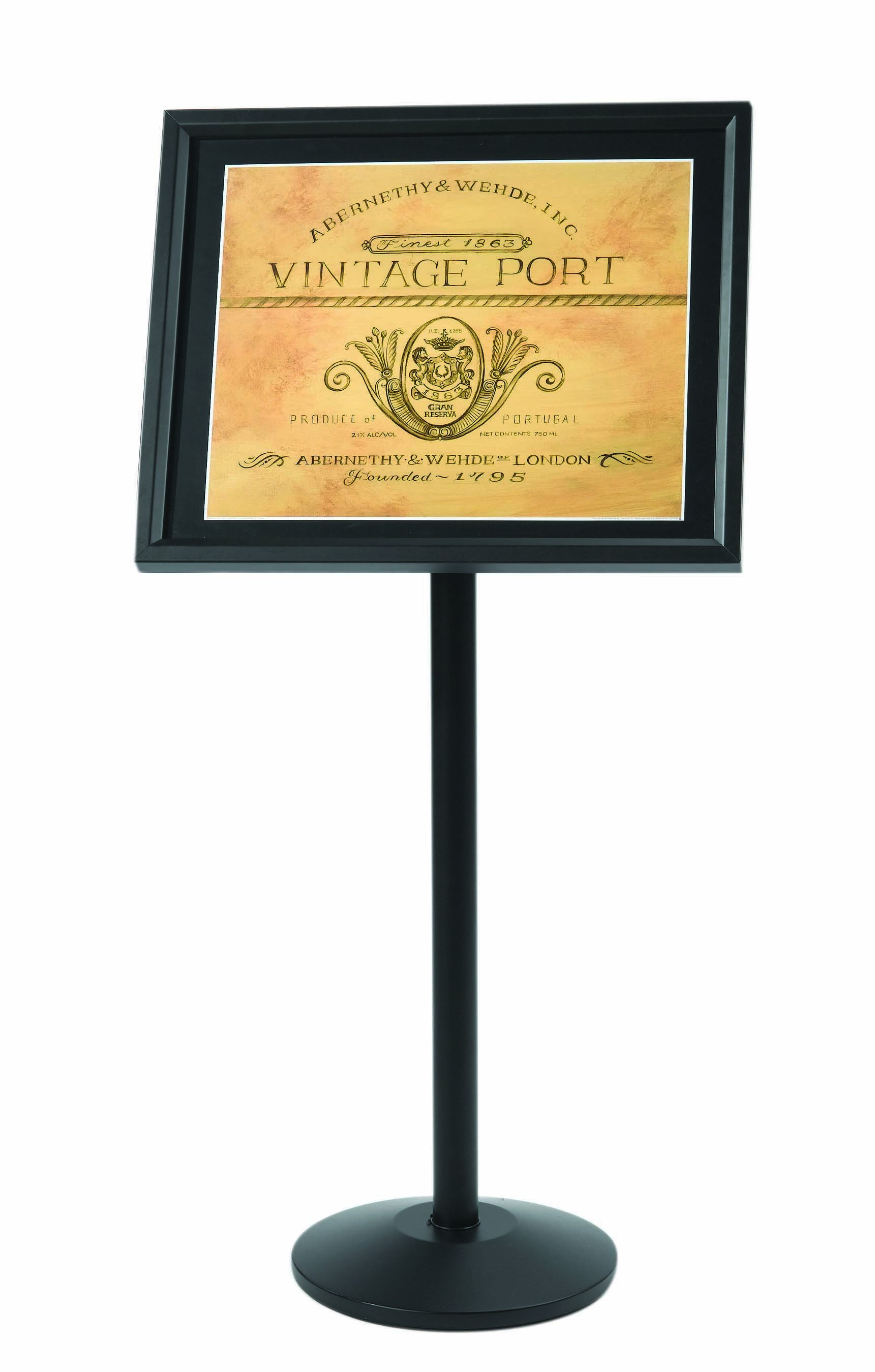 Single Pedestal Broadcaster- Black Frame with Menu Holder