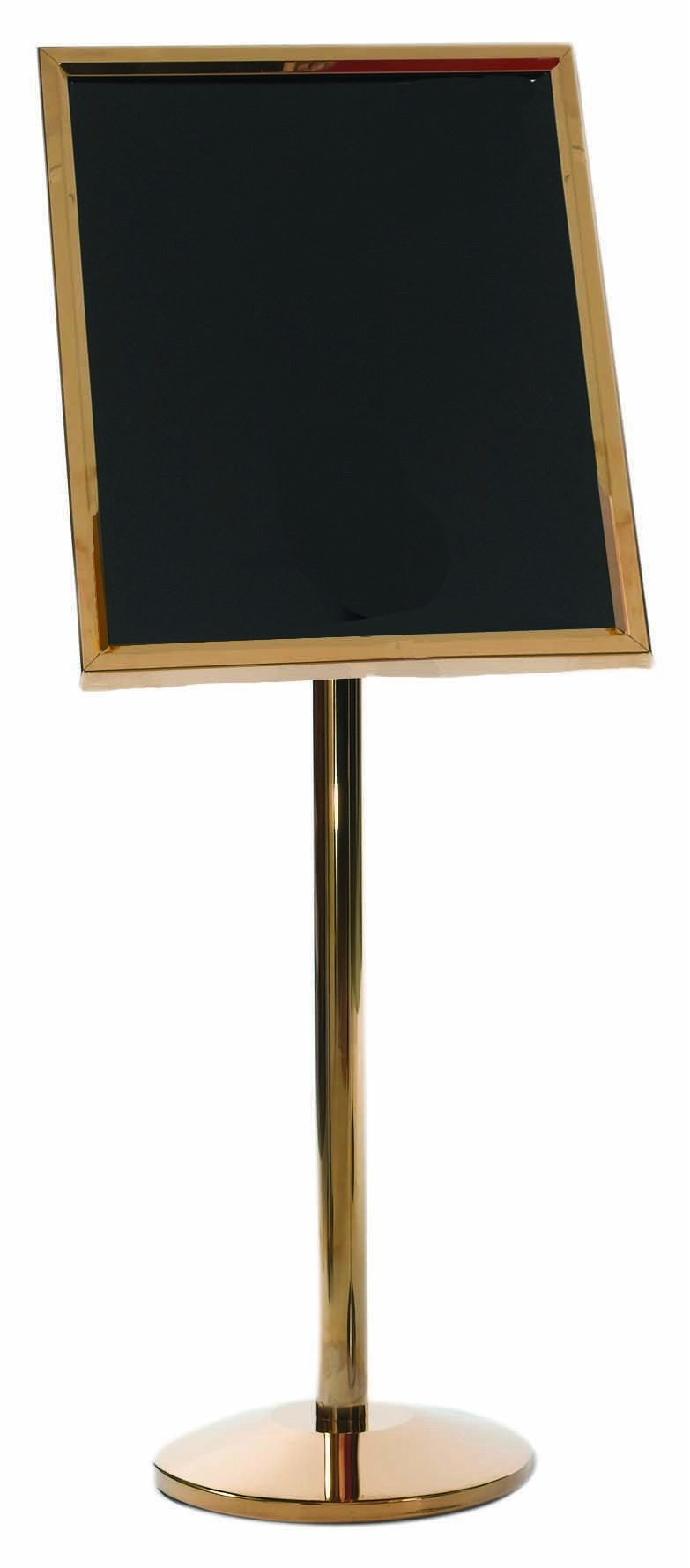 Aarco Products P-7B Single Pedestal Broadcaster- Brass Frame with Markerboard
