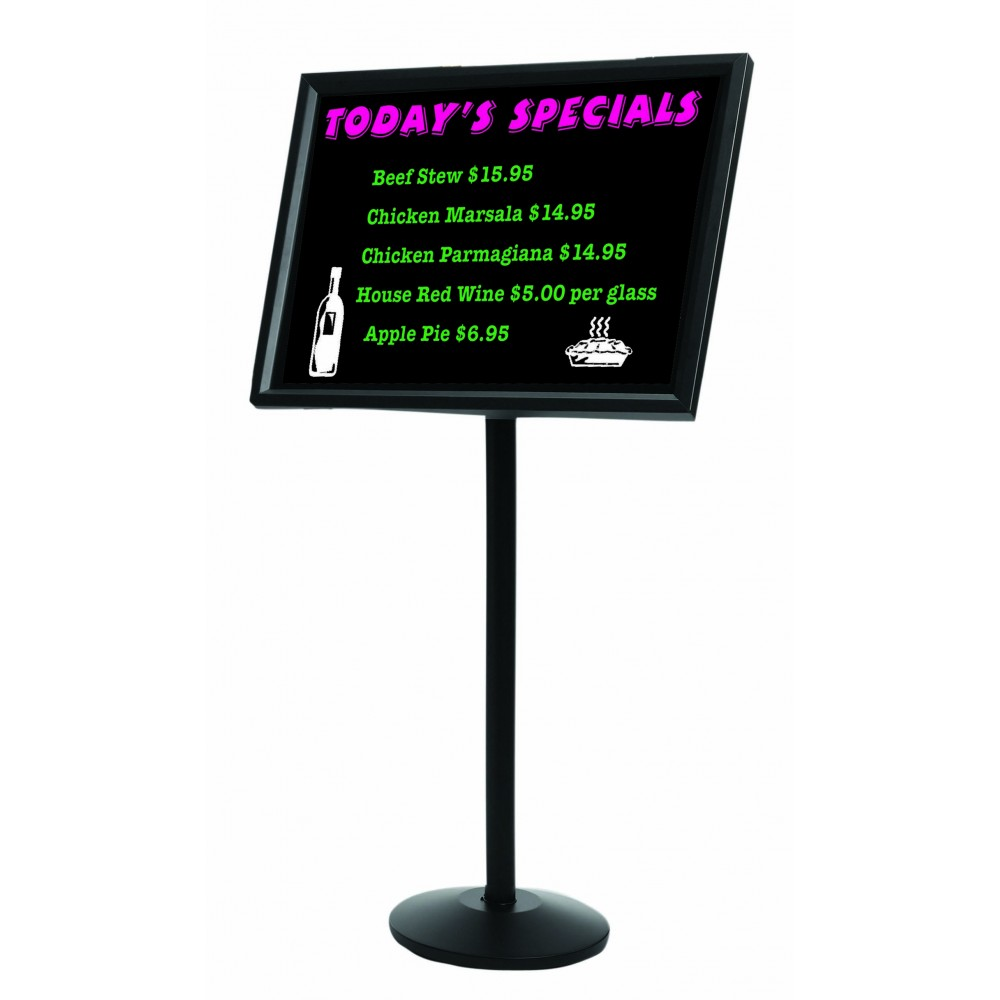 Single Pedestal Broadcaster- Black Frame with Markerboard
