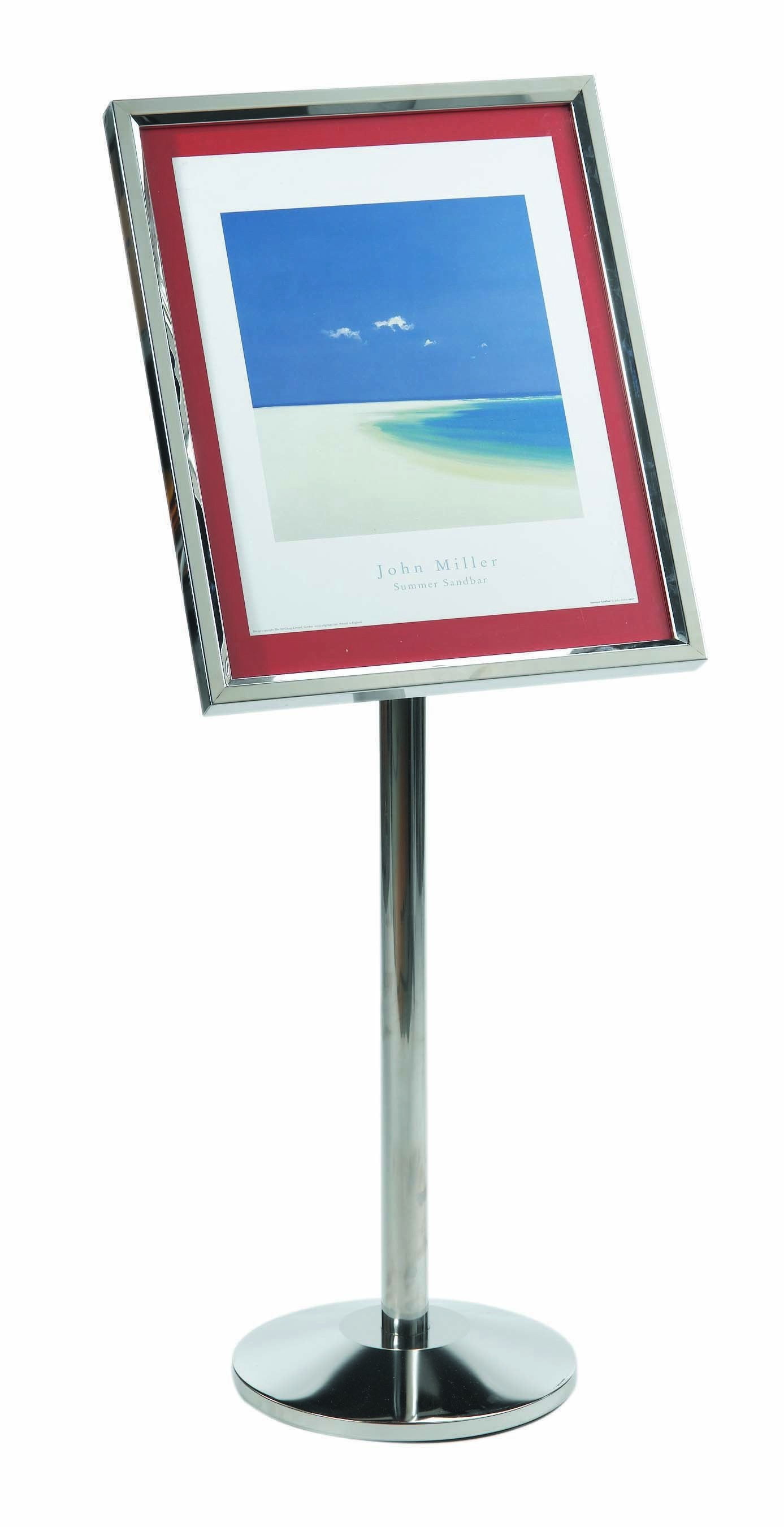 Single Pedestal Broadcaster- Chrome Frame with Menu Holder