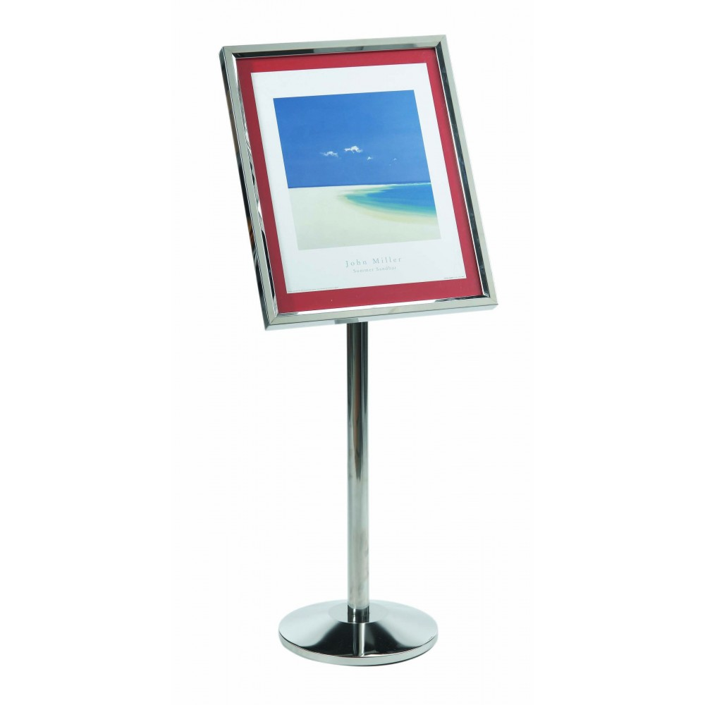 Aarco Products P-5C Single Pedestal Broadcaster- Chrome Frame with Menu Holder