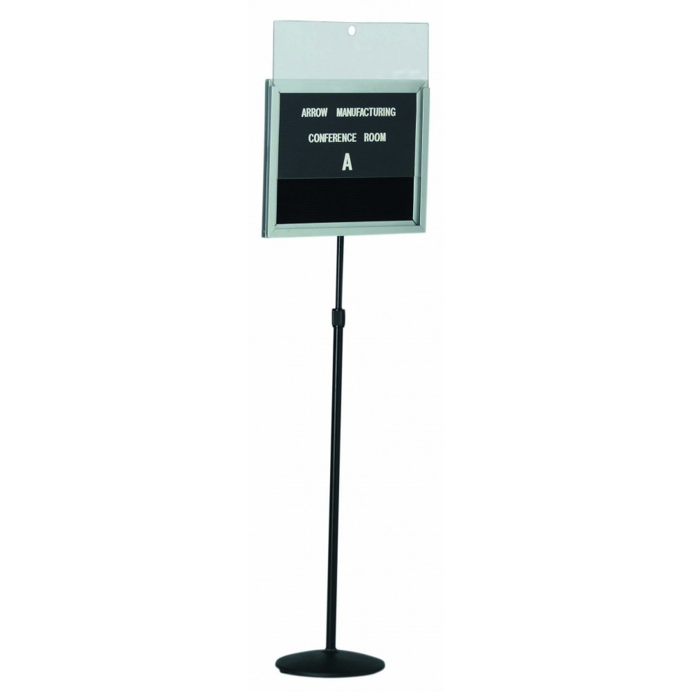 Single Pedestal Free Standing Changeable Letter Board W/lift Off Cover - 14