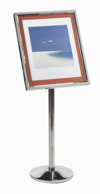 Aarco Products P-5C Single Pedestal Menu Stand, Chrome