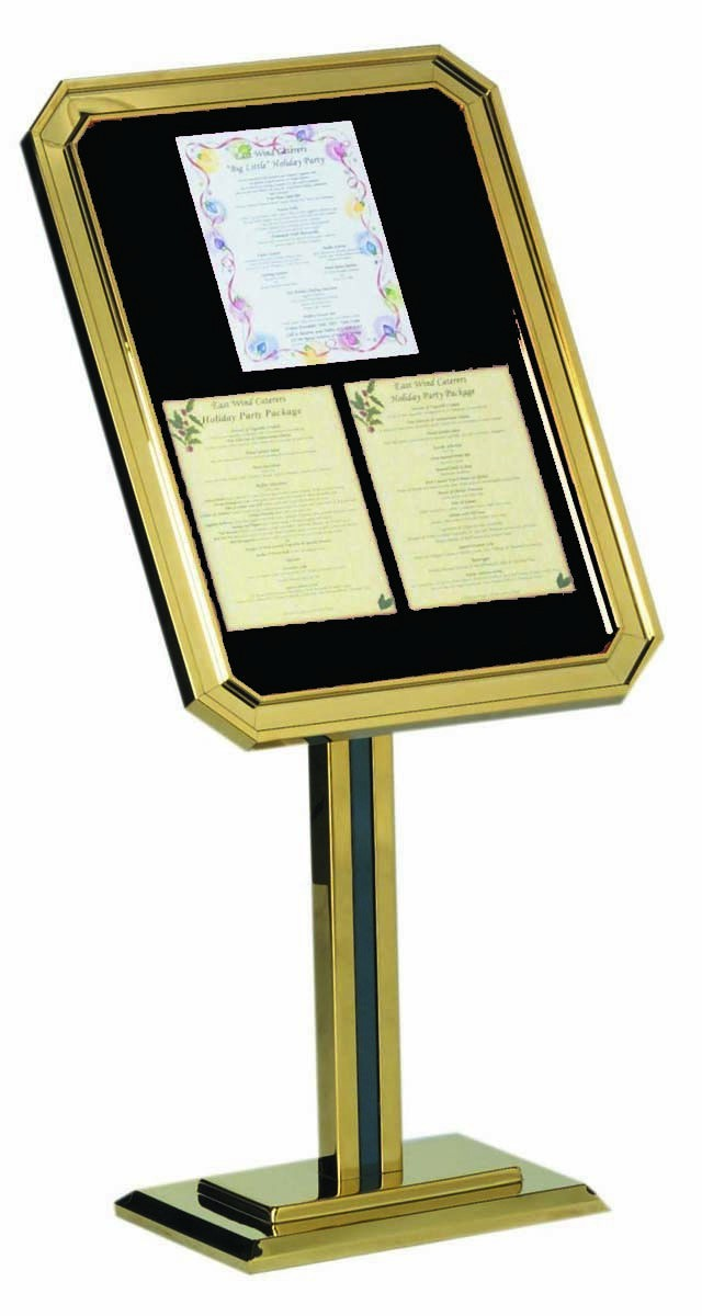 Aarco Products P31-B Single Pedestal Ornamental Sign and Poster Stand, Brass