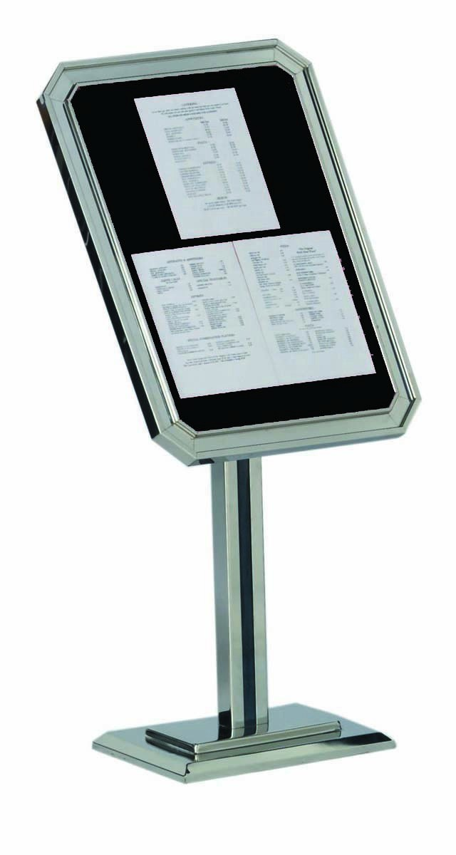 Single Pedestal Ornamental Sign And Poster Stand - Chrome