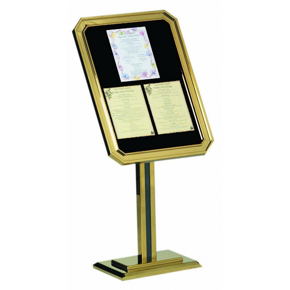 Single Pedestal Ornamental Sign And Poster Stand - Brass