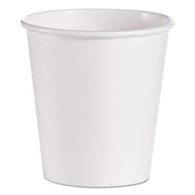 Single-Sided Poly Paper Hot Cups, 10 oz, White, 1000/Carton