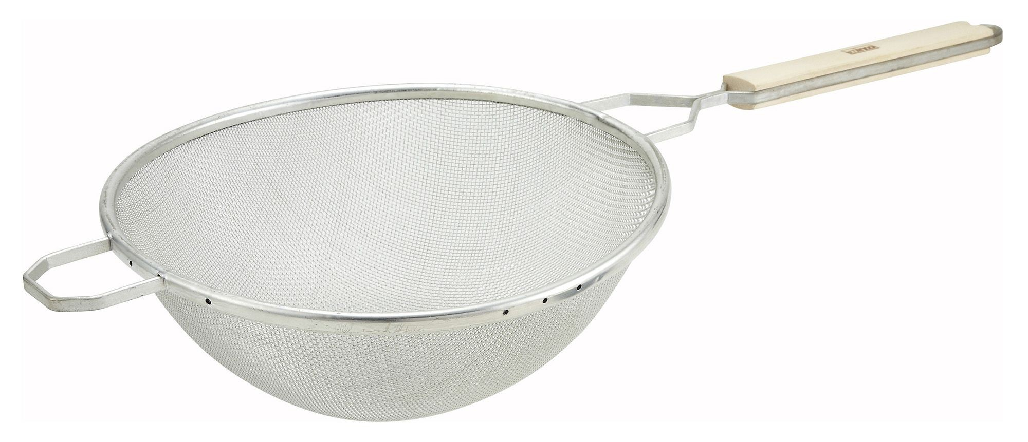 Single Tinned Mesh Medium Strainer With Wood Handle - 10-1/4