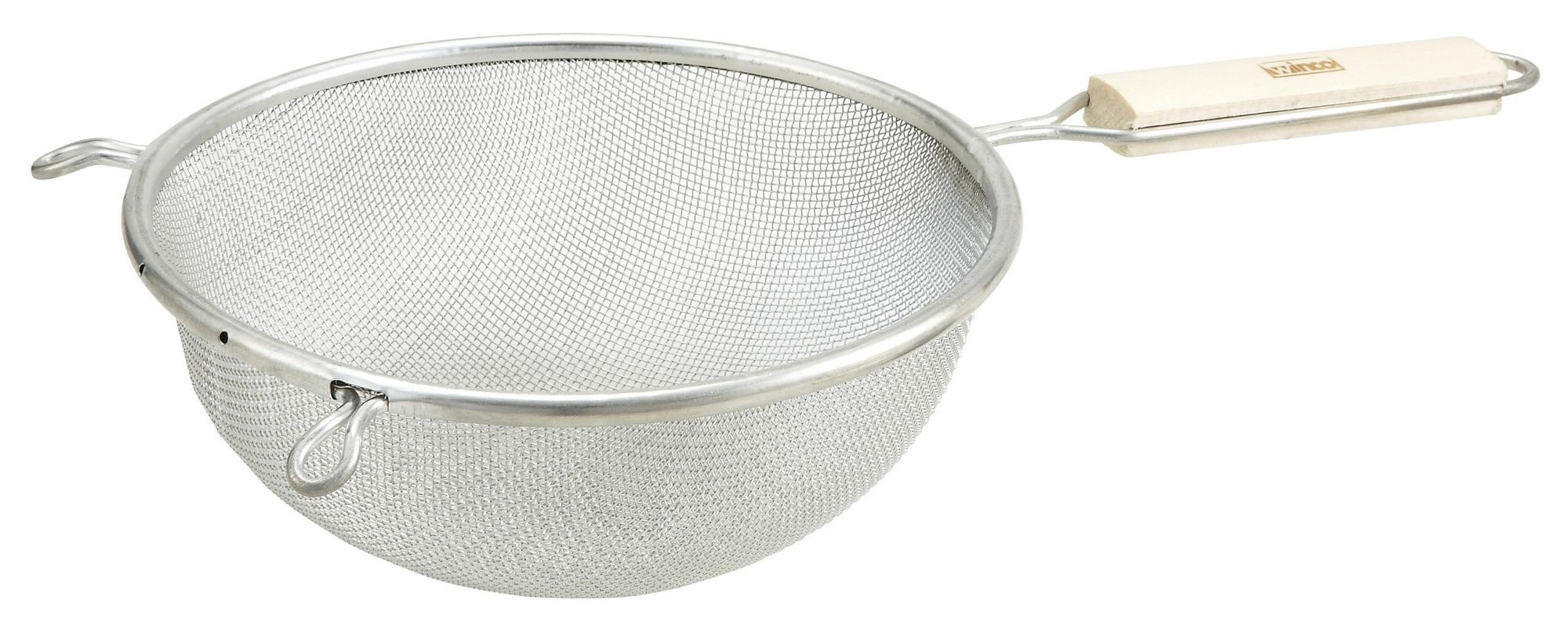 Winco MST-8S Single Mesh Medium Strainer with Wood Handle 8""
