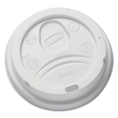 Sip-Through Dome Hot Drink Lids for 10 oz Cups, White, 100/Pack