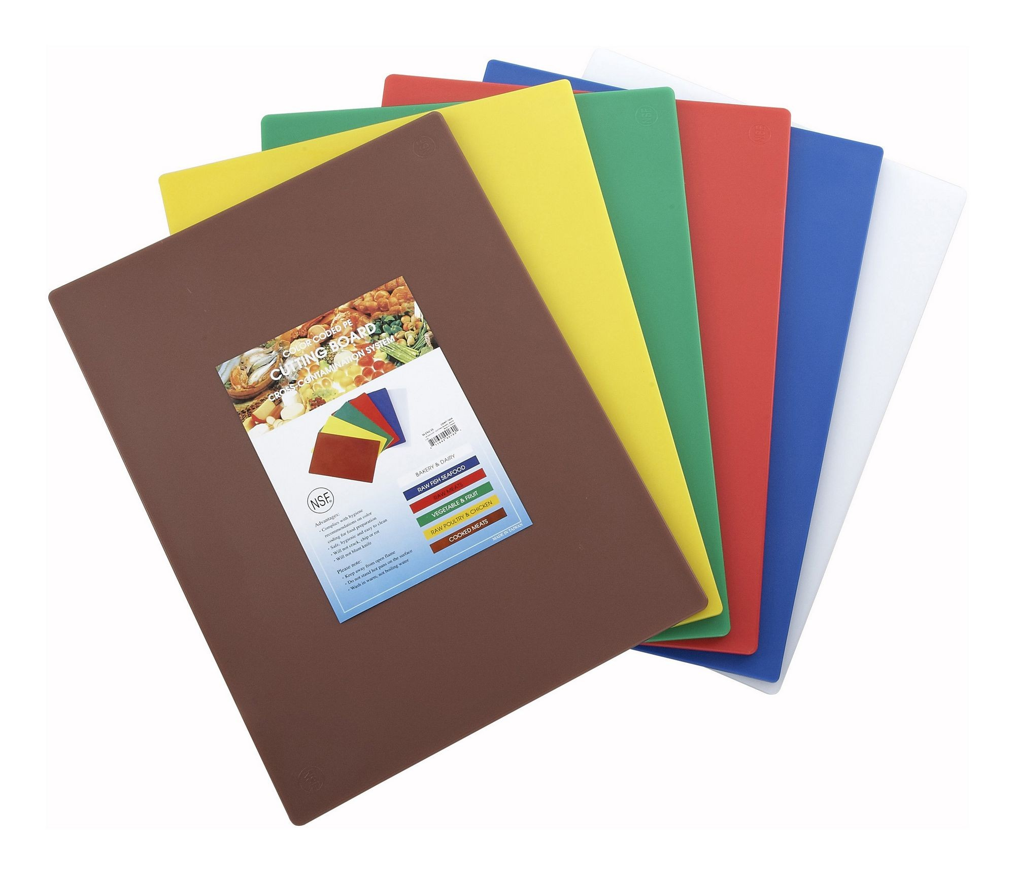 "Winco CBST-1218 Color-Coded Cutting Board Set 12"" x 18"" x 1/2"""