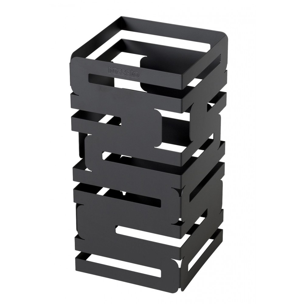 "Rosseto D620RB Skycap Black Matte Steel Finish Square Multi-Level Riser 6"" x 6"" x 12""H"