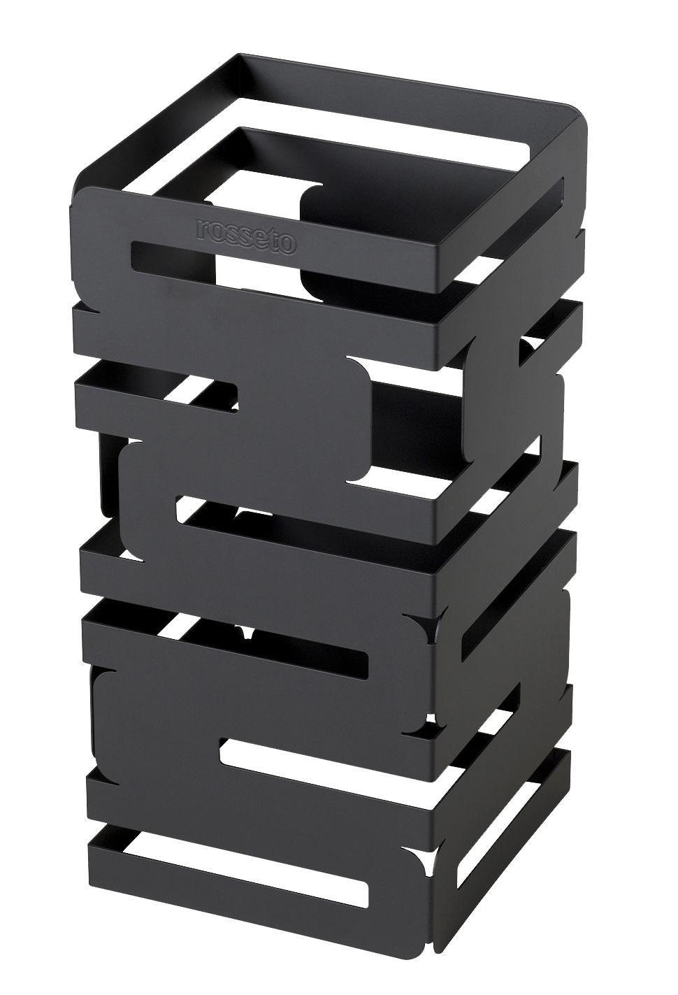 "Rosseto D620RB Skycap Black Matte Steel Finish Square Multi-Level Riser 6"" x 6"" x 12""H"