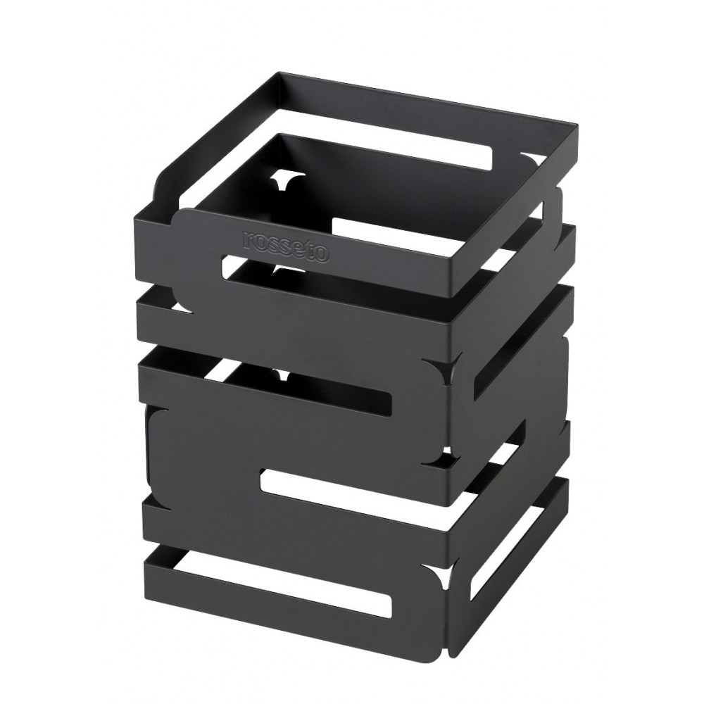 "Rosseto D623RB Skycap Black Matte Steel Finish Square Multi-Level Riser 6"" x 6"" x 8""H"