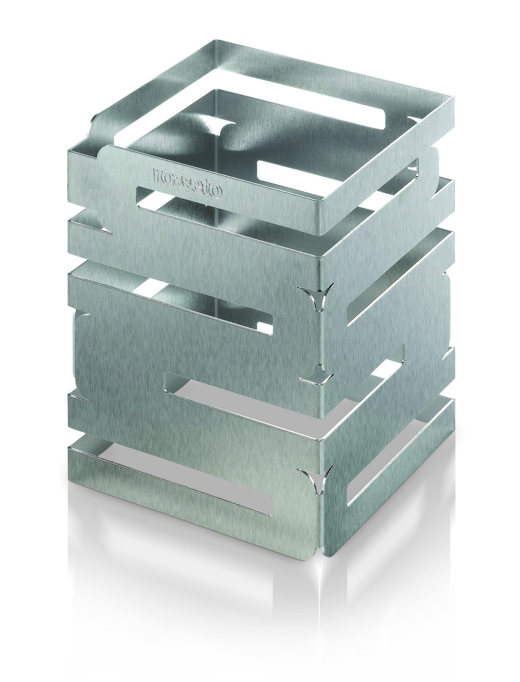 "Rosseto D62377 Skycap Stainless Steel Brushed Finish Square Multi-Level Riser 6"" x 6"" x 8""H"