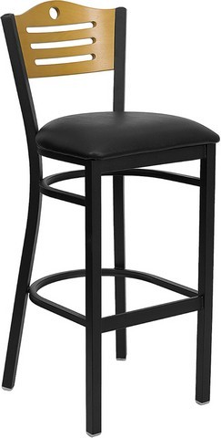 Slat Back Black Metal Bar Stool with Black Vinyl Seat and Natural Wood Back