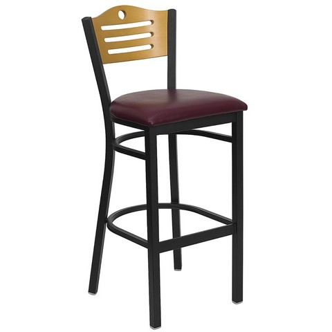 Slat Back Black Metal Bar Stool with Burgundy Vinyl Seat and Natural Wood Back