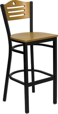 Flash Furniture XU-DG-6H3B-SLAT-BAR-NATW-GG Slat Back Black Metal Bar Stool - Natural Wood Seat and Back