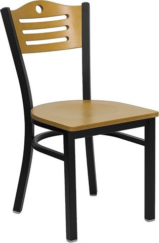 Slat Back Black Metal Chair with Natural Wood Seat and Back