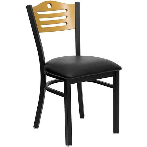 Slat Back Black Metal Restaurant Dining Chair with Black Vinyl Seat and Natural Wood Back