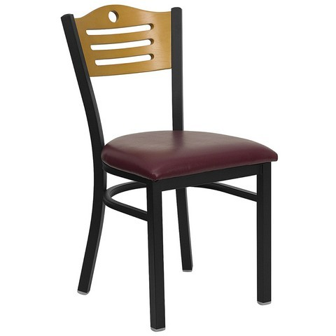 Slat Back Black Metal Restaurant Dining Chair with Burgundy Vinyl Seat and Natural Wood Back
