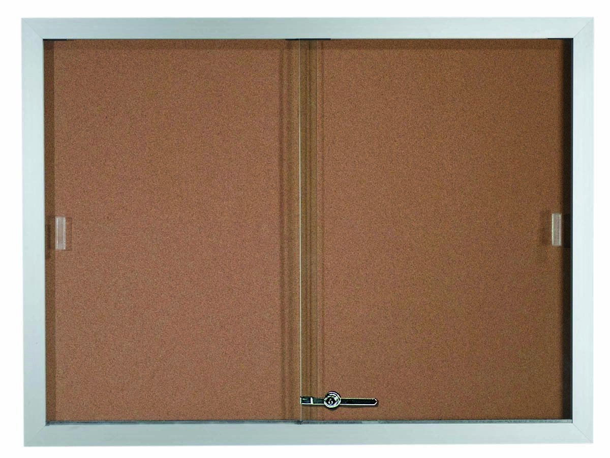 """Aarco Products SBC3648 Sliding Glass Enclosed Aluminum Frame Bulletin Board, 36""""H x 48""""W"""