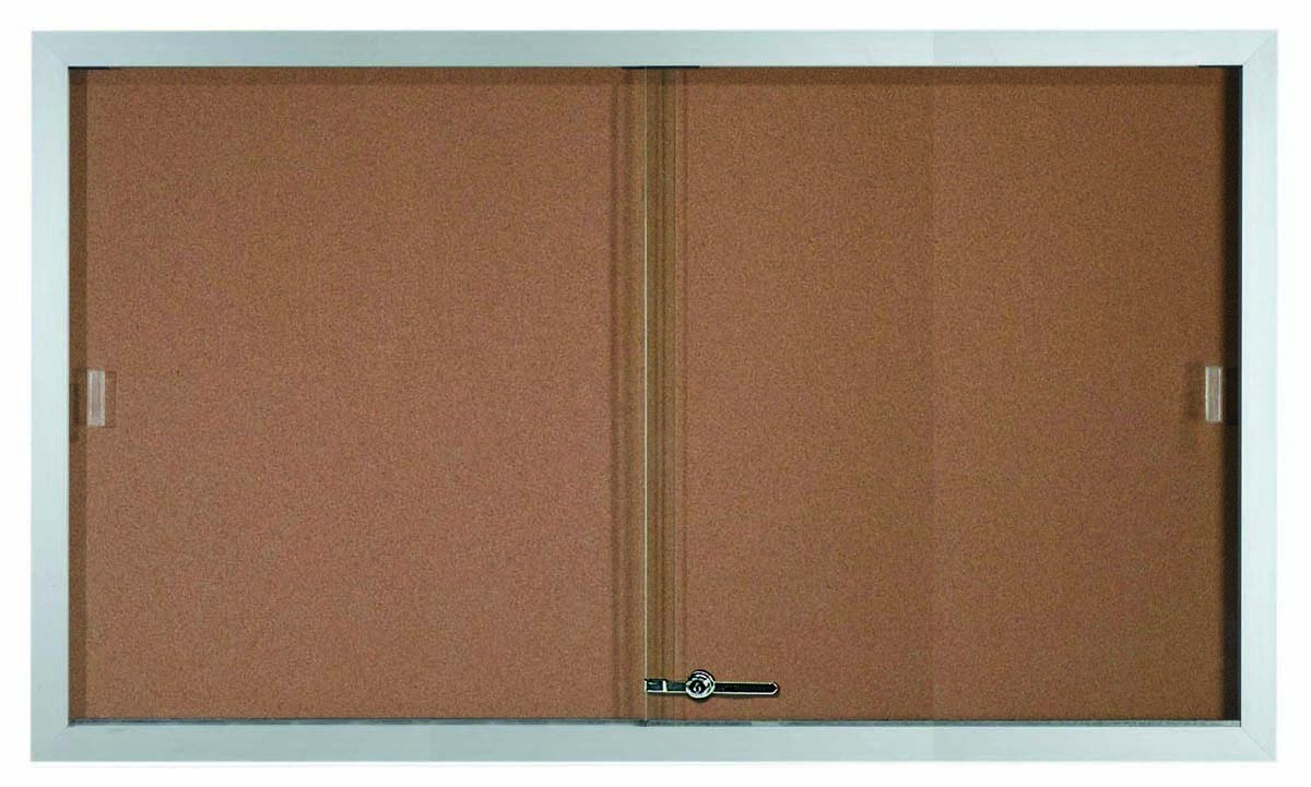 "Aarco Products SBC3660 Sliding Glass Enclosed Aluminum Frame Bulletin Board, 36""H x 60""W"