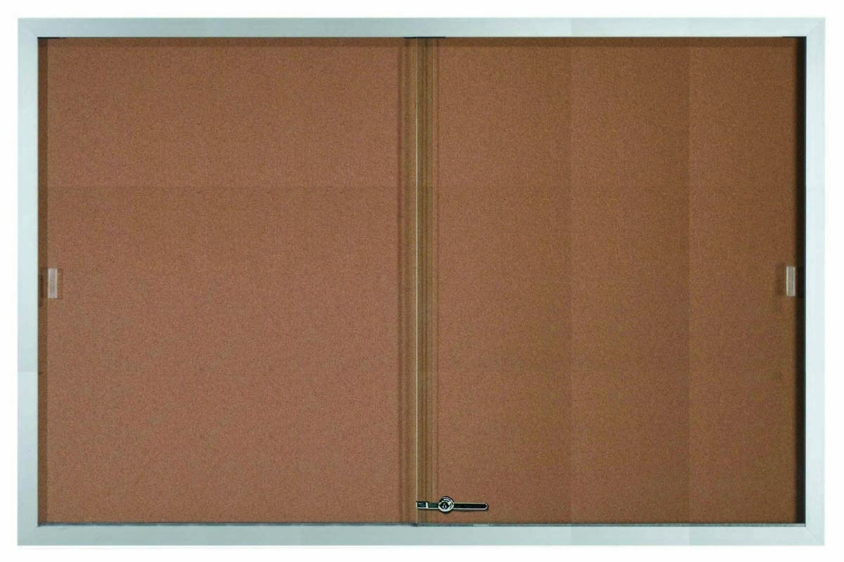 "Aarco Products SBC4872 Sliding Glass Enclosed Aluminum Frame Bulletin Board, 48""H x 72""W"