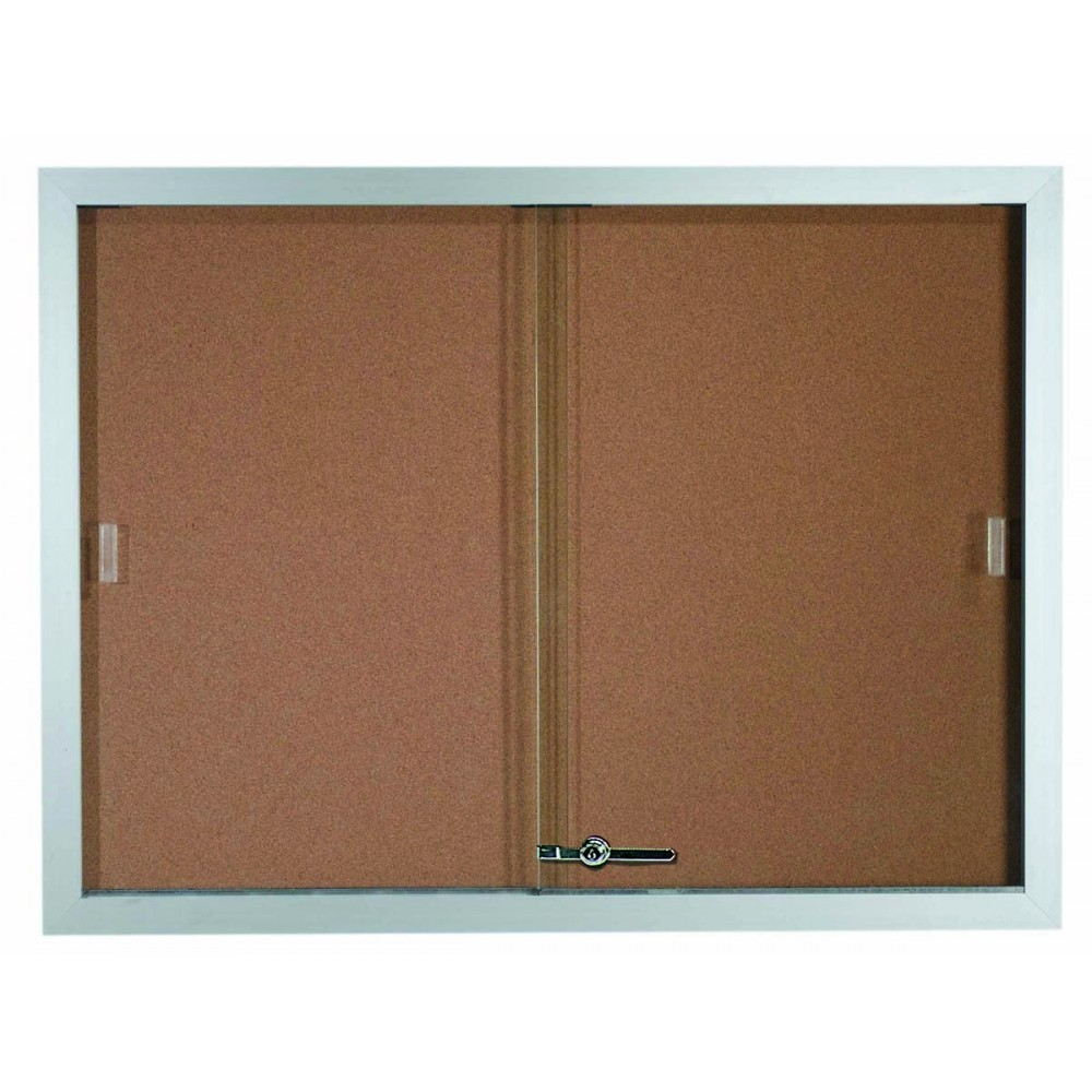 Sliding Glass Enclosed Aluminum Frame Bulletin Board - 36