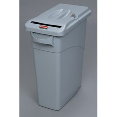 Slim Jim Confidential Receptacle w/Lid, Rectangle, 15 7/8gal, Light Gray