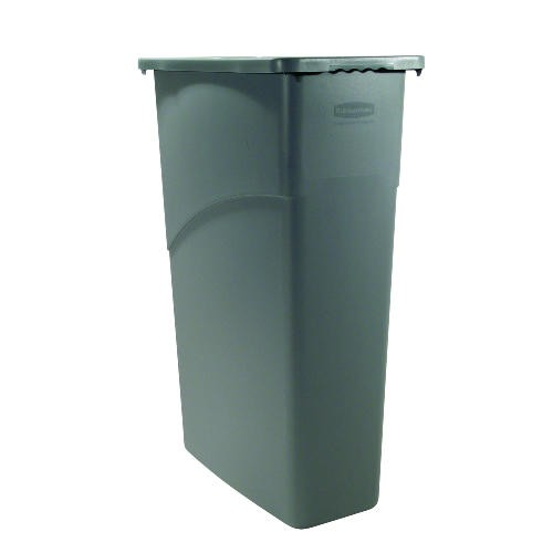 Slim Jim Rectangular Waste Container with Handles, 15.9 Gallon, Gray