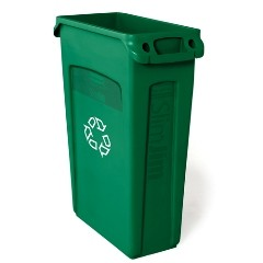 Slim Jim Recycling Container w/Venting Channels, Plastic, 23 gal, Green