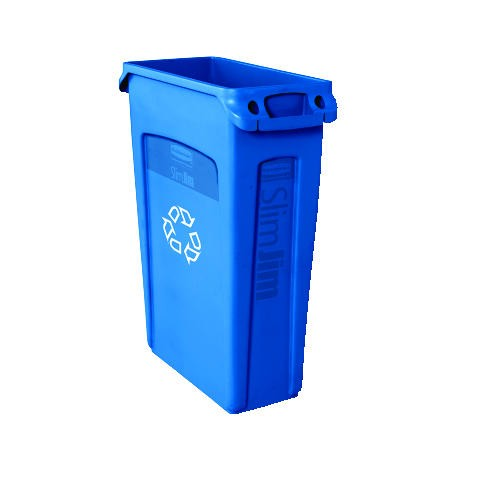 Slim Jim Recycling Container with Venting Channels and Recycling Imprint