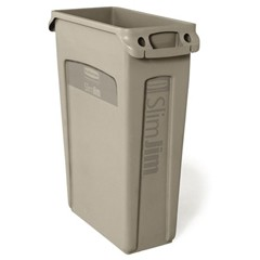 Slim Jim Recycling Container with Venting Channels, Beige