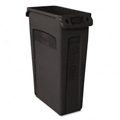 Slim Jim Recycling Container with Venting Channels, Black