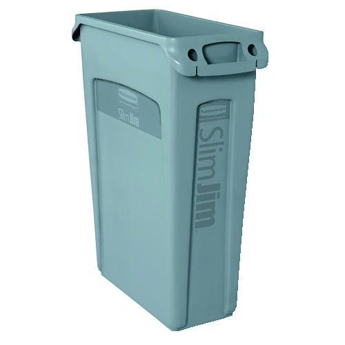 Slim Jim Recycling Container with Venting Channels, Gray
