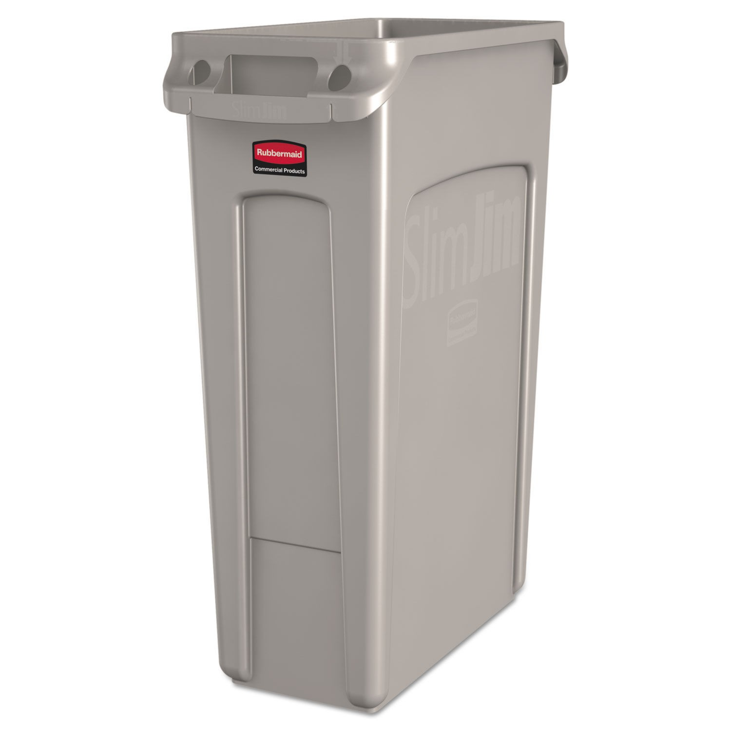 Slim Jim Trash Container with Venting Channels, 23 Gallon, Beige