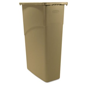 Slim Jim Waste Container, 23 Gallon, 20 X 11 X 30, Beige