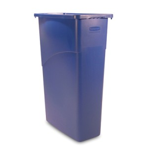 Slim Jim Waste Container, 23 Gallon, 20 X 11 X 30, Blue