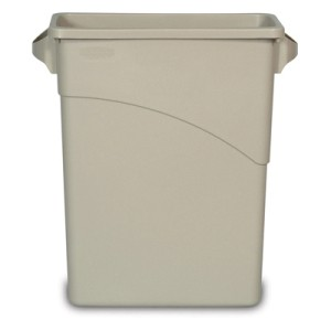 Slim Jim Waste Receptacle, Rectangular, Plastic, 15 7/8 gal, Beige