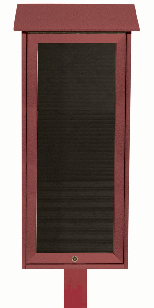 """Aarco Products OPLD3416LSPP-7 Slimline Series Top Hinged Single Door Plastic Lumber Message Center with Letter Board (Post Included) 34""""H x 16""""W"""
