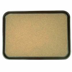 "Thunder Group PLRT1612BCK Black Rectangular Slip Resistant Tray with Cork, 16"" x 12"""