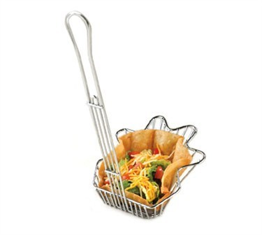Sloped Chrome-Plated Metal Ahora Taco Salad Basket
