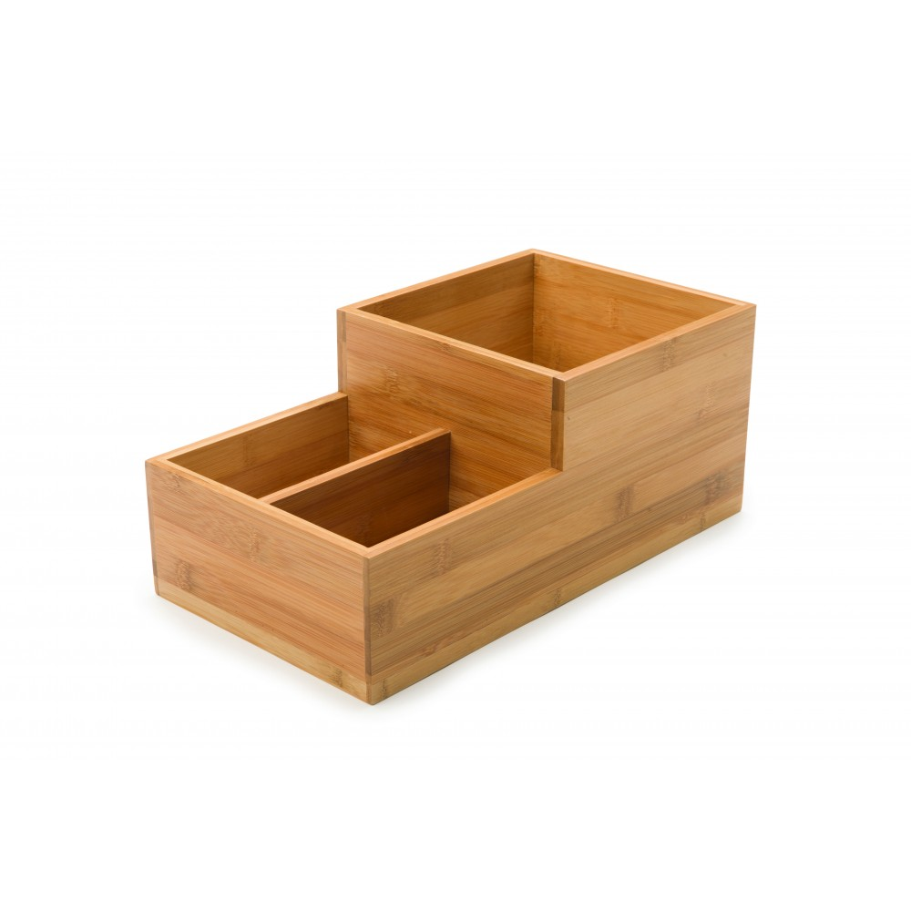 "Rosseto BD108 Small Condiment Natural Bamboo Tray Bakery Building Block 8"" x 14.75"" x 6"""