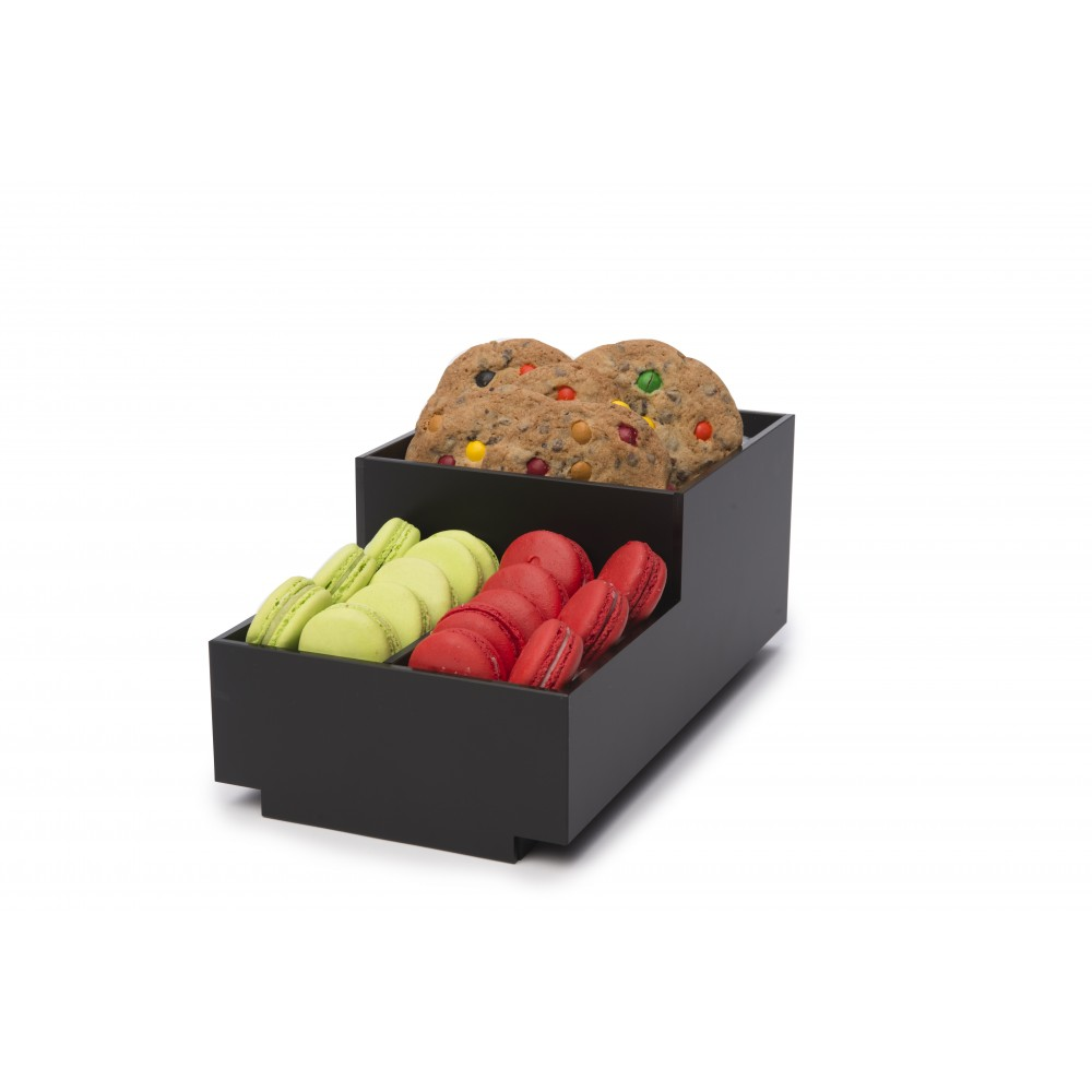 "Rosseto BD112 Small Condiment Black Matte Tray Bakery Building Block 8"" x 14.75"" x 6"""