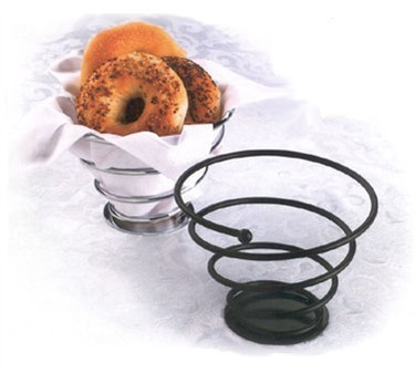 TableCraft 8177BK Black Powder Coated Galaxy Round Bread Basket