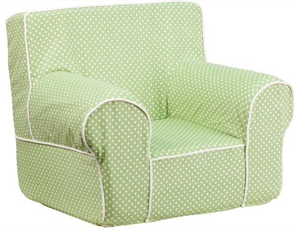 Flash Furniture dg-ch-kid-dot-grn-gg Small Green Dot Kids Chair with White Piping