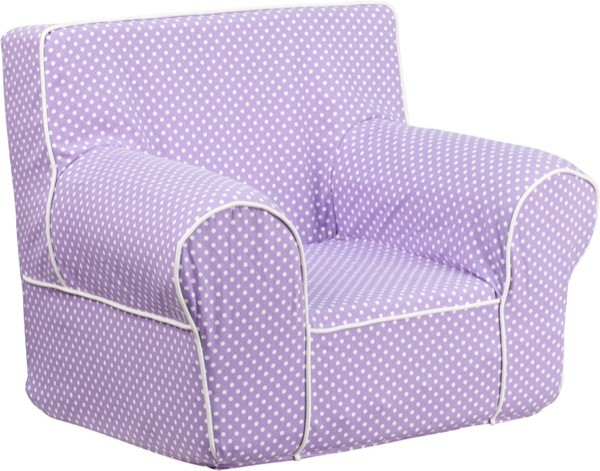 Flash Furniture dg-ch-kid-dot-pur-gg Small Lavender Dot Kids Chair with White Piping