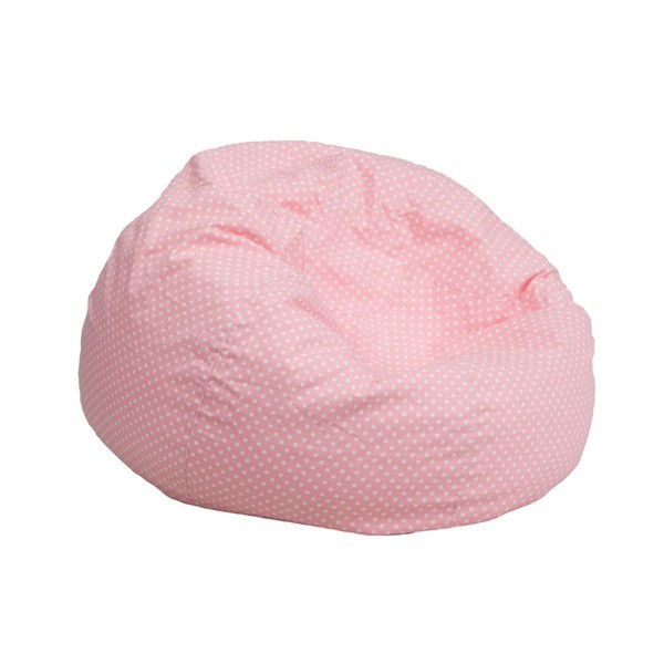 Flash Furniture DG-BEAN-SMALL-DOT-PK-GG Small Light Pink Dot Kids Bean Bag Chair